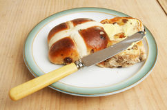 Toasted hot cross bun Stock Photo