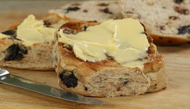 Toasted hot cross bun Stock Images