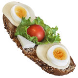 Egg And Cheese Sandwich With Lettuce And Cherry Tomato Isolated On White Background Stock Photography