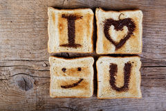 Toasted Love Message Stock Photo