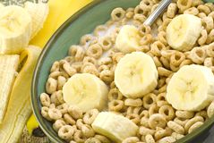 Toasted Oat Cereal and Bananas stock images