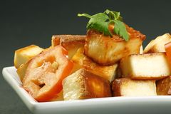 Toasted paneer cheese. Cooked indian paneer cheese and tomato on a grey background Royalty Free Stock Image