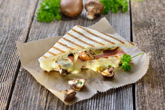 Toasted panini with ham and mushrooms Stock Photos