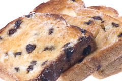 Toasted Raisin Bread Slices Isolated Royalty Free Stock Photography