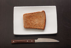 Toasted rye bread on the white plate Stock Images