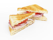 Toasted sandwich with ham, cheese and vegetables Royalty Free Stock Photography