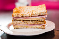 Toasted sandwich with ham and cheese Stock Image