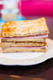 Toasted sandwich with ham and cheese Royalty Free Stock Photo