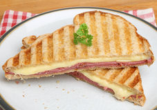 Toasted Sandwich with Pastrami & Cheese Stock Photography