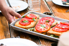 Toasted Sandwich With Sliced Tomato on Top in Stainless Steel Food Tray Stock Photos