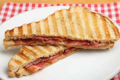 Toasted Sandwich or Toastie with Bacon Stock Photography