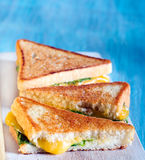 Toasted sandwiches with cheese and salad Stock Photography