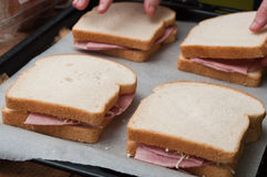 Toasted sandwiches preparation closeup Royalty Free Stock Image