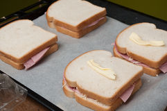 Toasted sandwiches preparation closeup Stock Photography