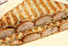 Toasted Sausage Sandwich Stock Photo