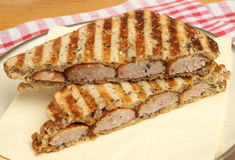 Toasted Sausage Sandwich Stock Images