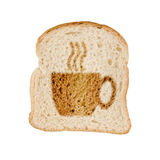 Toasted slice of bread cup of coffee, isolated on white Stock Image