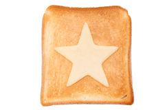 Toasted slice of bread. With star shaped cheese Stock Photos