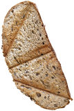 Toasted Slice of Integral Brown Bread Isolated on White Backgrou Royalty Free Stock Photos