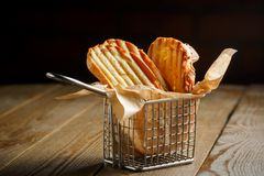Toasted slices of bread with a golden crust Royalty Free Stock Images