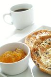 Toasted tea cakes with coffee and marmalade Stock Images