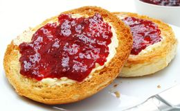 Toasted tea cakes with jam Stock Image