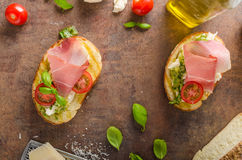 Toasted Tuscan bread with pesto Stock Image