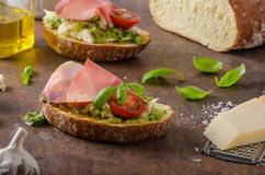 Toasted Tuscan bread with pesto Stock Photo