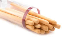 Toasted wheat bread sticks isolated on a white background. Stock Image
