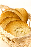 Toasted white bread. And toast in a basket royalty free stock photos