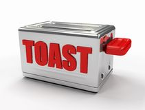 Toaster. In steel with red write on white background - digital artwork Royalty Free Stock Images