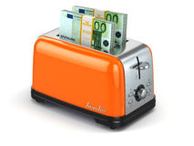 Toaster baking euro. Financial business concept. Stock Photography