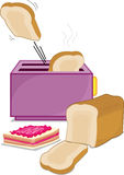 Toaster and bread. An illustration of toast and bread vector illustration