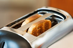 Toaster with bread slices. In it Royalty Free Stock Photo