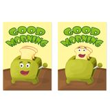 Toaster with bread slices. Good morning poster. Hand drawn vector stock illustration