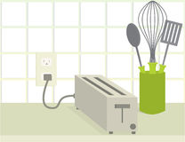 Toaster on counter. Plugged in toaster on a counter with a whisk and spatula and spoon vector illustration