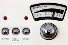 Toaster dial and chrome knobs Royalty Free Stock Image