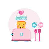 Toaster Funny toasted bread with cute smile Cartoon character. Toaster Funny toasted bread Fork and Spoon with cute smile Cartoon character vector illustration