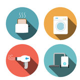 Toaster, hair dryer, washing ,vacuum cleaner icons Royalty Free Stock Photo