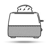 Toaster in line art style. Illustration on isolated background Stock Photography