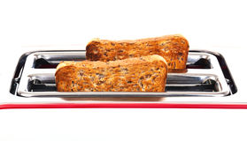 Toaster mit Toast Lizenzfreie Stockbilder