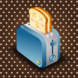 Toaster and sliced bread with face expression cartoon Stock Image