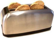 A toaster, or a toast maker, is an electric small appliance designed to toast sliced bread by exposing it to radiant heat.  stock photo