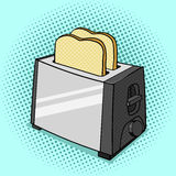 Toaster with toasts pop art style vector Stock Photos