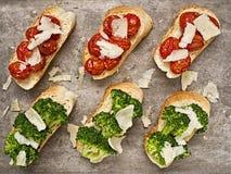 Toasties italiens rustiques de cicchetti Photos libres de droits