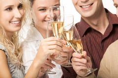 Toasting. Photo of happy friends holding glasses full of champagne and smiling during party Royalty Free Stock Photo