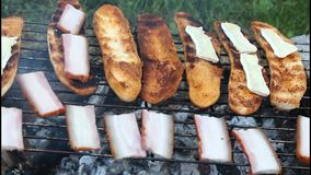 Toasting bacon and toast Royalty Free Stock Image