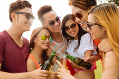 Toasting with beer bottles Stock Image