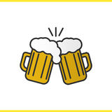 Toasting beer glasses color icon. Cheers. Two foamy beer glasses. Isolated vector illustration Stock Photo