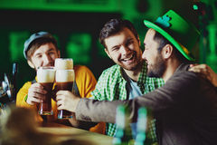 Toasting with beer Stock Photography